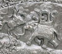 Maharaja Pratap's tent peggers charging Emperor Akbar's war elephants